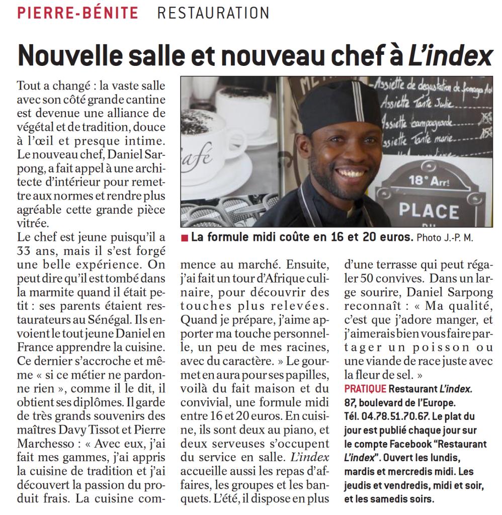 Article du Progrès : la Cuisine du Chef Cuisinier Daniel Sarpong L'Index Restaurant 87 boulevard de l'Europe à Pierre-Bénite