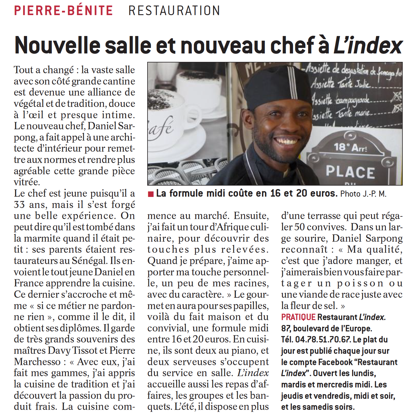 lu dans la presse la cuisine du chef cuisinier daniel